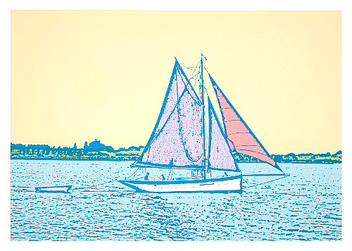 Summer Sailing by Talia Russell Silk Screen Artwork